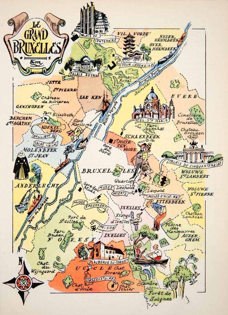 Interessante Cette Carte Touristique De 1950 Du Grand Bruxelles En Gros La Region Capitale Daujourdhui